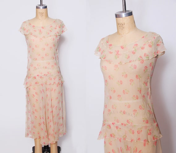 1920s sheer silk chiffon dress / floral chiffon fl