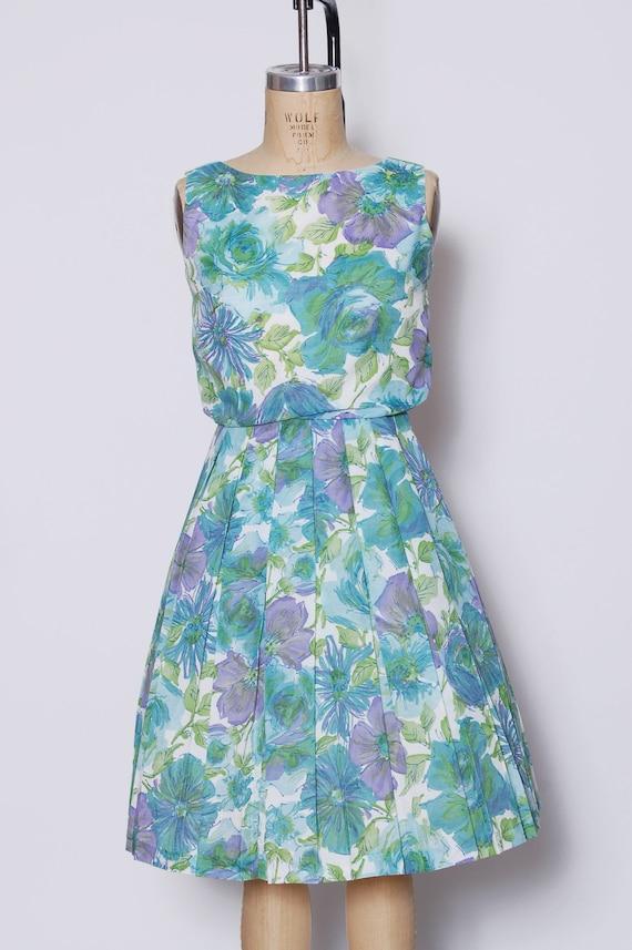 Vintage 50s aqua floral dress / pleated sundress … - image 2