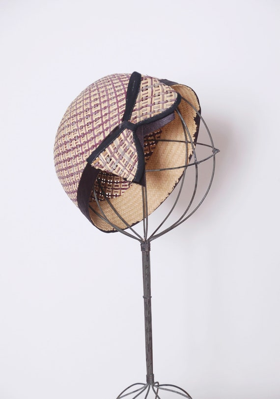 Vintage 50s straw hat with bow / 50s fascinator /… - image 4