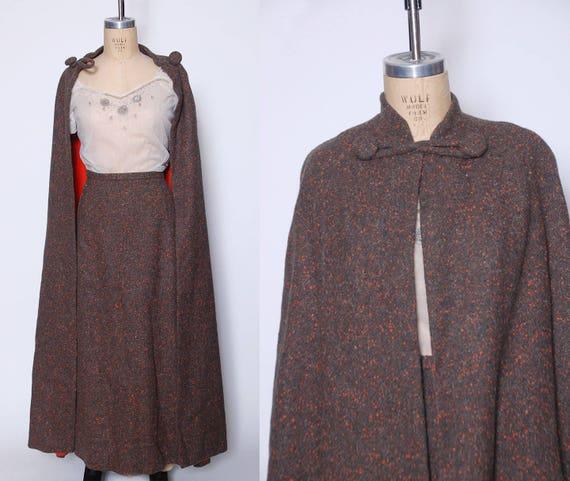 60s cape & skirt set / 1960 confetti wool cape / 6