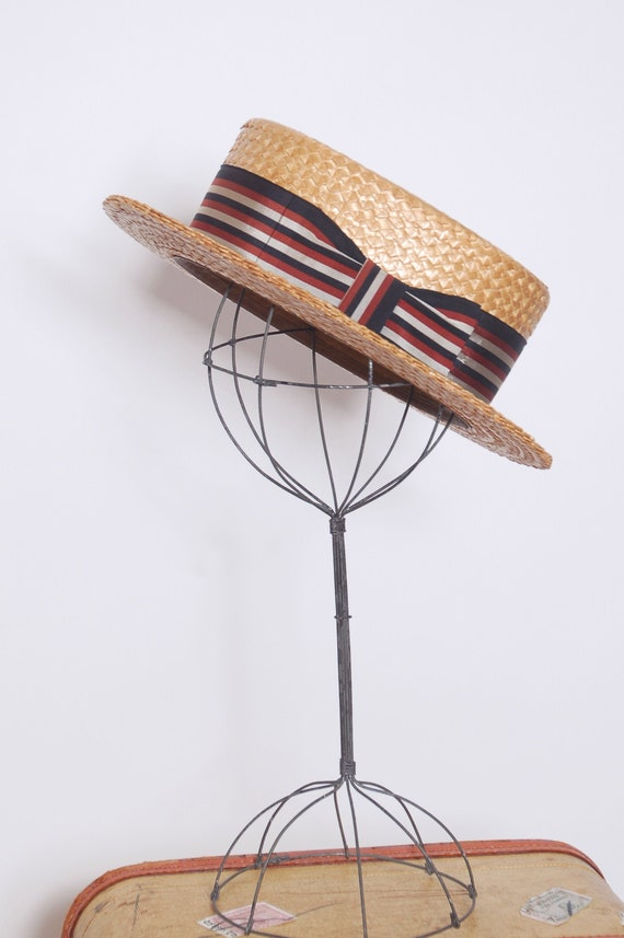 Vintage 30s straw boater hat /  1940s boater hat /