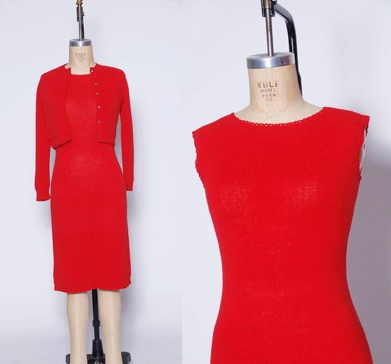 dbaf183ac03 60s red knit dress   vintage 1960s sweater dress   two piece