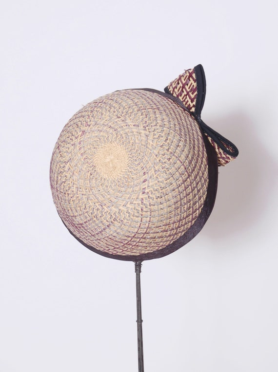 Vintage 50s straw hat with bow / 50s fascinator /… - image 5