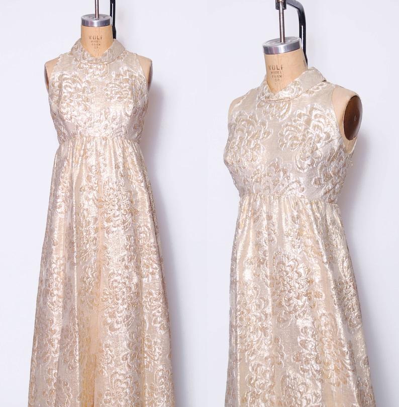 Vintage 60s gold lame/' jumpsuit  1960s gold brocade palazzo pants  mod sleeveless jumpsuit  NYE  60s brocade jumpsuit