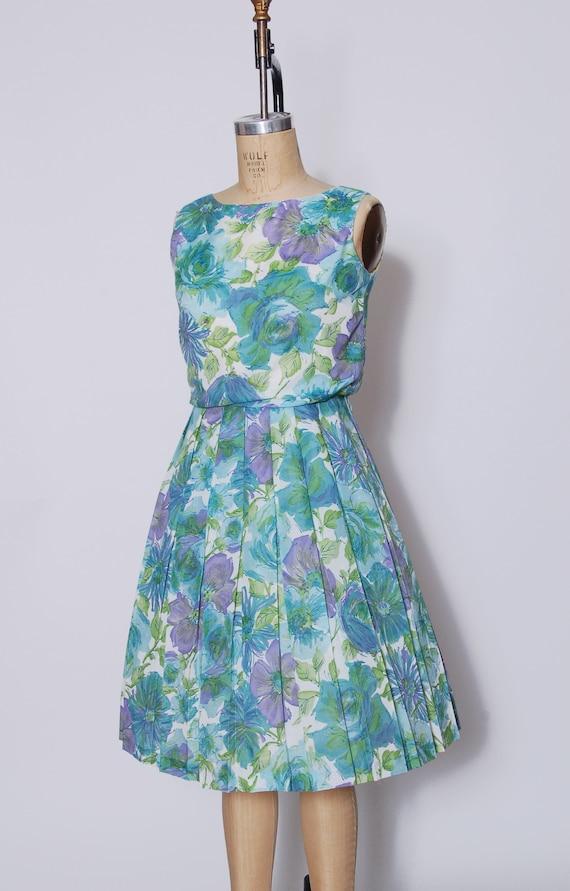 Vintage 50s aqua floral dress / pleated sundress … - image 4
