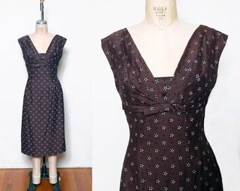 Vintage 50s cocoa wiggle dress / shelf bust sheath dress / printed flocked bombshell dress