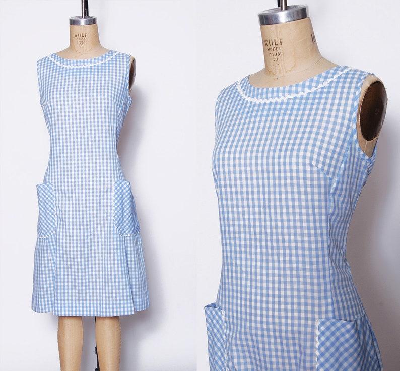 9fd1b542f3f544 Vintage 60s pastel jurk   blauw pastel shift dress   zomer