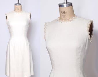 Vintage 60s Anne Fogarty dress / 60s wiggle dress / winter white dress / beaded linen dress / sheath dress