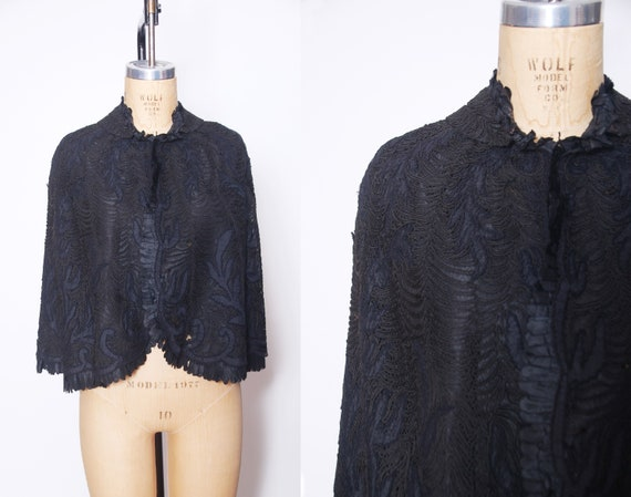 Victorian lace mourning cape / antique lace mourni