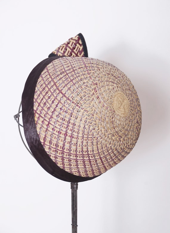 Vintage 50s straw hat with bow / 50s fascinator /… - image 3