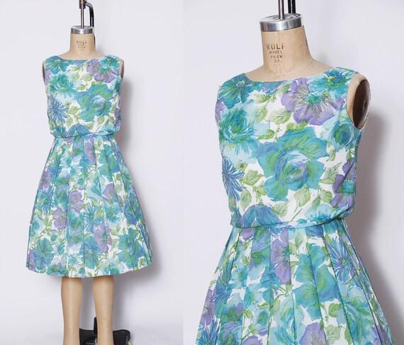 Vintage 50s aqua floral dress / pleated sundress /