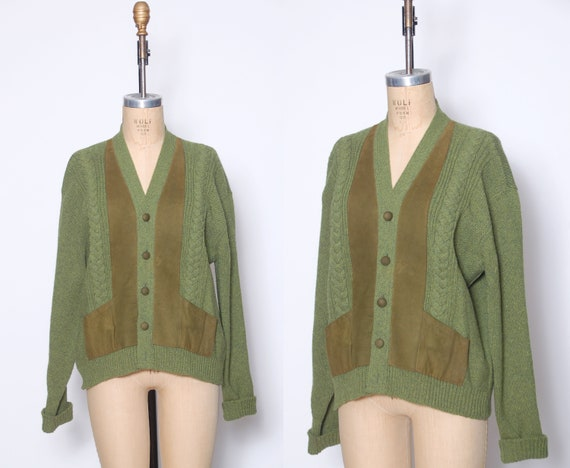 Vintage 50s men's wool sweater / 1950s green cable