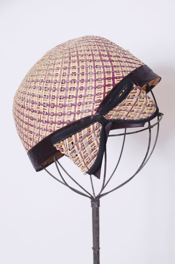 Vintage 50s straw hat with bow / 50s fascinator /… - image 2