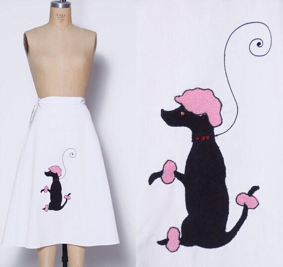 Vintage poodle skirt / white wrap skirt / novelty