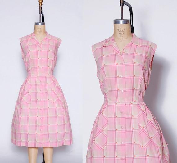 Vintage 50s pink gingham dress / 1950s Ann Taylor