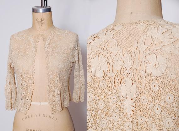 Vintage 1900s lace blouse / Edwardian hand lace to