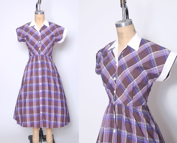 Vintage 50s plaid day dress / fit and flare dress