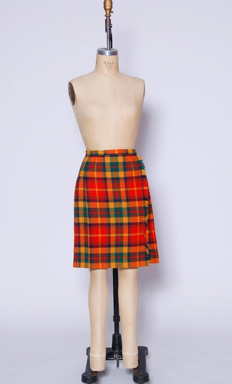 9af9bc55cf Plaid wrap skirt / 60s plaid skirt / pleated school girl skirt | Etsy