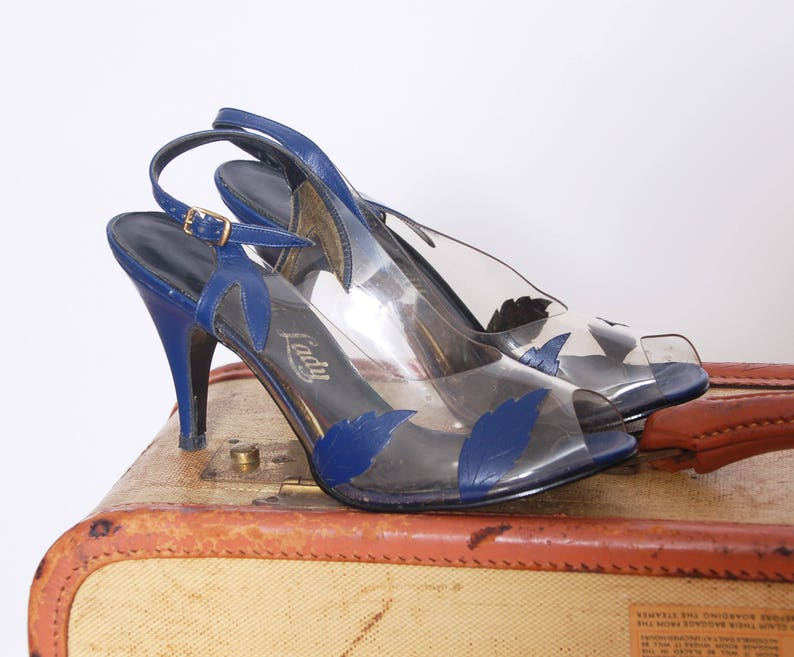 4470d1cfee0 Vintage 60s clear plastic shoes   60s heels   blue vinyl shoes