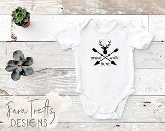 ca8d87bb Crawl Walk Hunt onesie, hunting baby onesie, gift for hunter mom, gift for hunter  dad, gift for hunter, hunting baby shower, new dad gift
