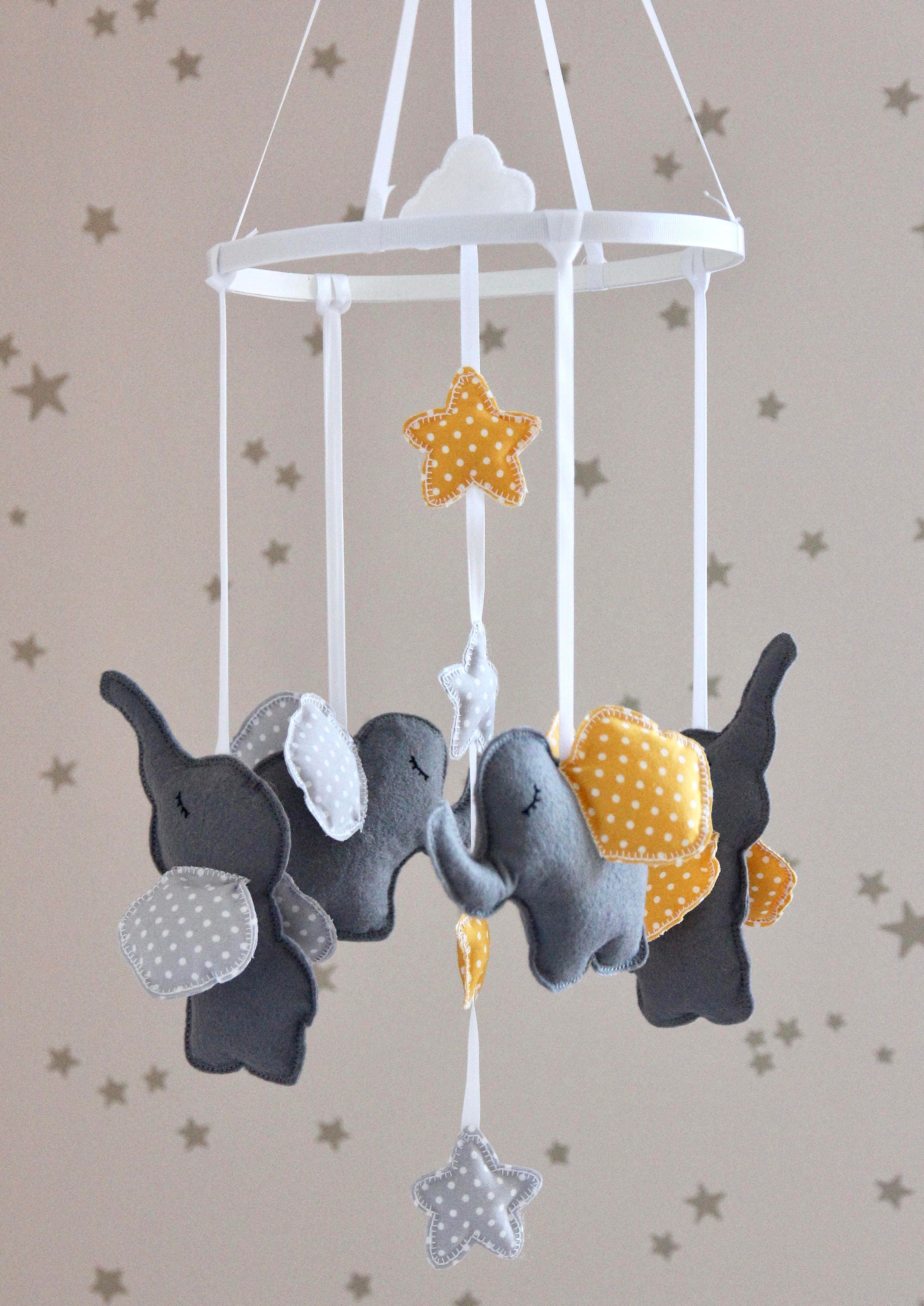diy baby mobile grey yellow elephant baby mobile. Black Bedroom Furniture Sets. Home Design Ideas