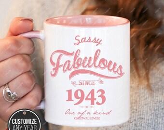 Sassy Fabulous since 1943, 75th birthday 75th birthday gifts for women, 1943 birthday gift, 75th birthday mug for mens, 75th, mug Birthday