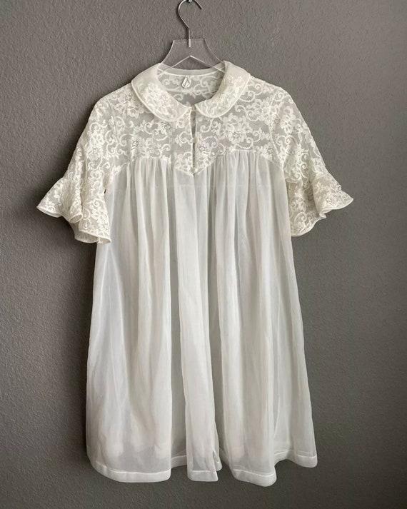 Vtg Komar Chiffon Lace Peignoir Robe Sheer Nylon M