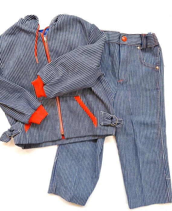 Vintage magic years striped denim jean jacket pant