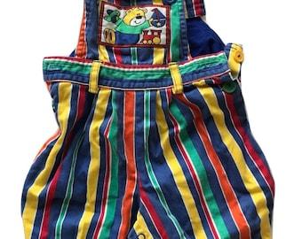 Vtg striped baby overalls denim cotton rainbow teddy bear sailboat 3-6 months romper