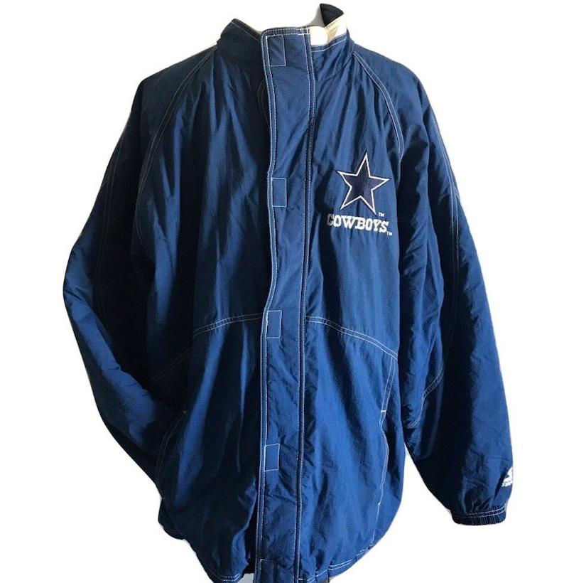 info for 0bcc8 f5aa6 Vtg 90s Starter Jacket Dallas Cowboys puffer coat blue nylon men large NFL