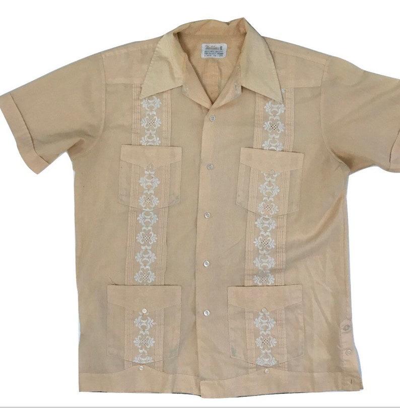 38a4373218 Vintage ~ 1950s 60s guayabera yucateca rockabilly Shirt embroidered nassau  camp shirt Hawaiian peach