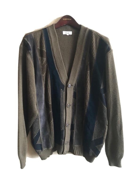 Vtg 80s leather suede patchwork cardigan mens XL c