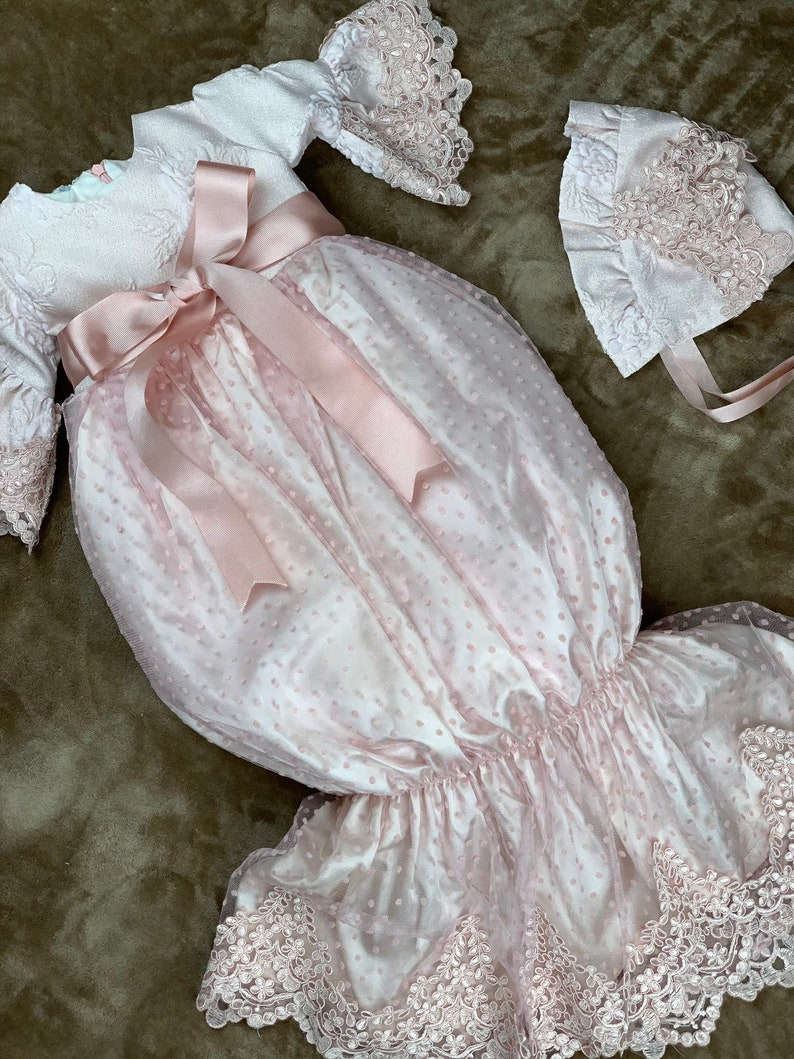 White gown for girls Pink off white slip gowns baptism gown  girls gown bell-sleeved gowns with bowknots christining gown