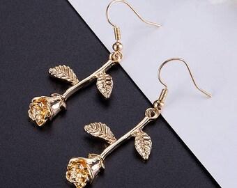 Gold Long Stemmed Rose Earrings