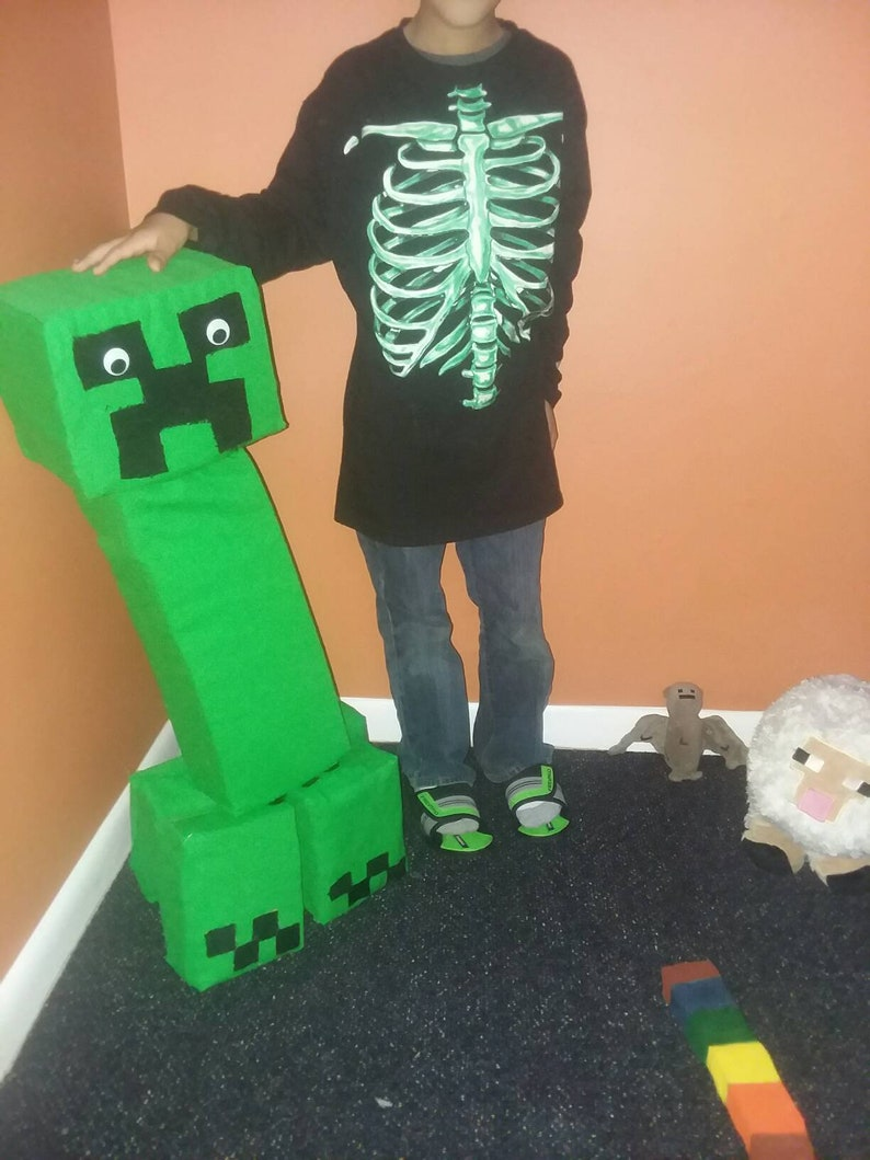 NAVY *CHECK FOR SIZE* JINX MINECRAFT CREEPER ANATOMY YOUTH BOY/'S T-SHIRT
