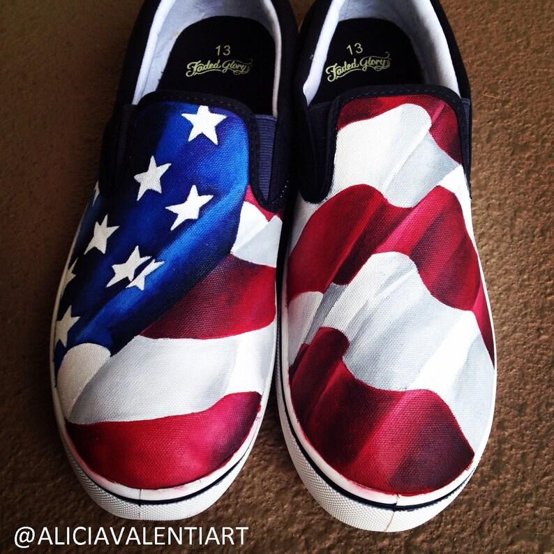 1e00d73f487 Custom painted American Flag Vans