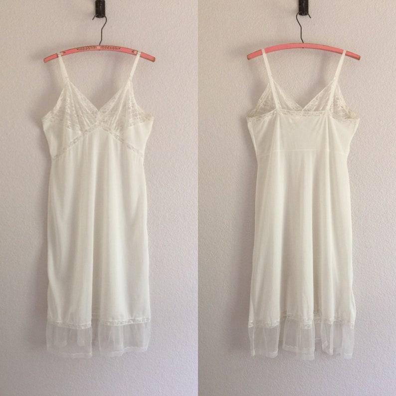 33d2e2a499198 Vintage Slip Lingerie White Full Slips Retro Nylon Lace Slip Dress Size 38  Vintage Nighty Nightgown 1950s 1960s