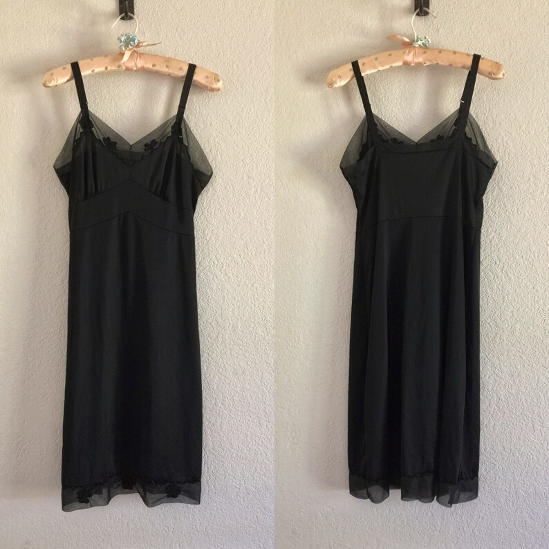 d78eee74021b4 Vintage Black Full Slip Lingerie Carol Brent Embroidered Size 34 Bust Nylon  Retro Slip Dress Vintage Nightie Nightgown 1950s 1960s