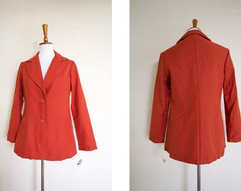7e6468dc59 Vintage 1970's New Old Stock JCPenney Fashions Blazer Jacket with Tags /  Deadstock 70's Thin Jacket / Business Casual / Orange Suit Jacket