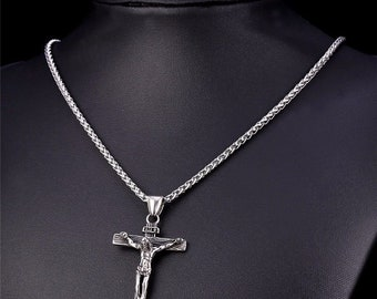 316L Stainless Steel Cross Crucifix Necklace and Chain for Men and Women 689d3ffa2e