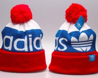 d0774d8fd7e Adidas Originals Mercer Ballie Pom Beanie Winter Hat Cap Red White Blue