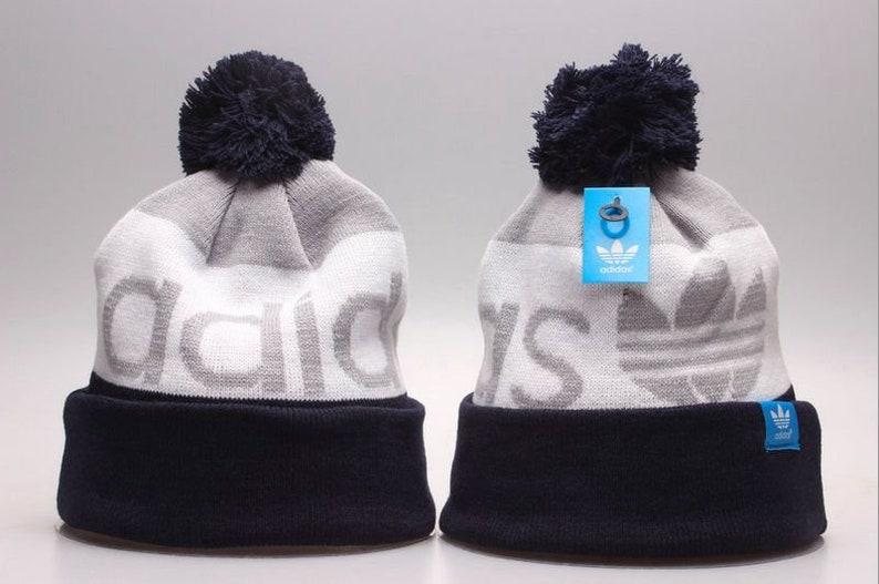 dae3f3ef Adidas Originals Mercer Ballie Pom Beanie Winter Hat Cap Navy White Gray