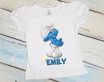 Clumsy Smurf Personalized T-Shirt, Girls Birthday Shirt, Smurfs