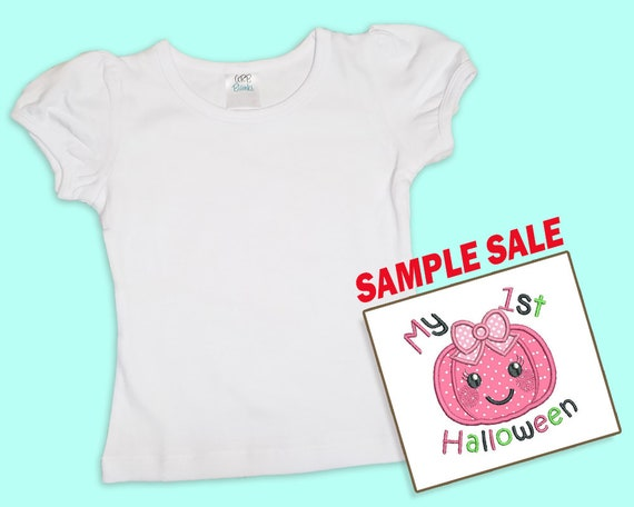 My 1st Halloween, Embroidered T-shirt, Pink Pumpkin, Sample Sale