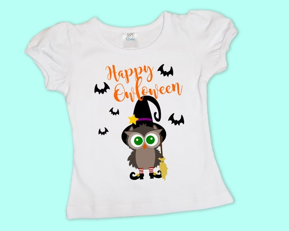 Happy Owloween, Girls Halloween Shirt or Onesie