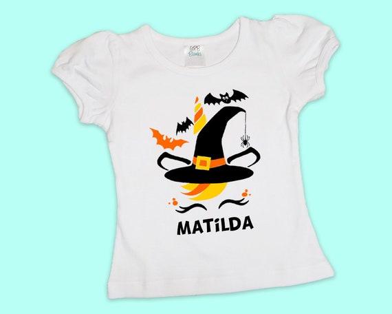 Witch Unicorn, Personalized Girls Halloween Shirt