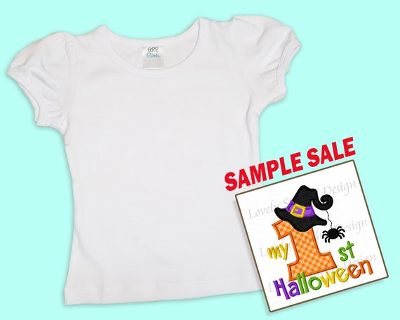 My 1st Halloween, Embroidered T-shirt,   Spider & Witch Hat, Sample Sale