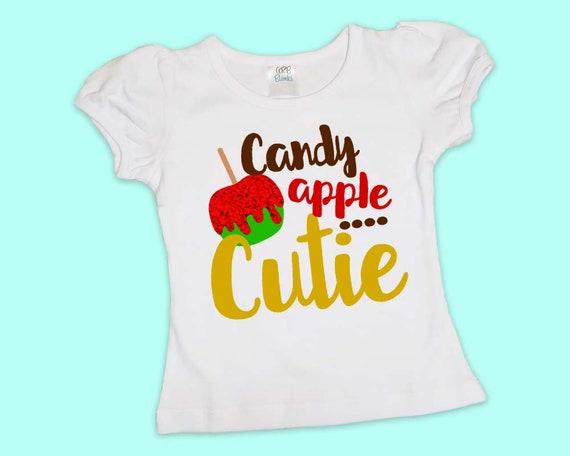 Candy Apple Cutie, Girls Halloween Shirt