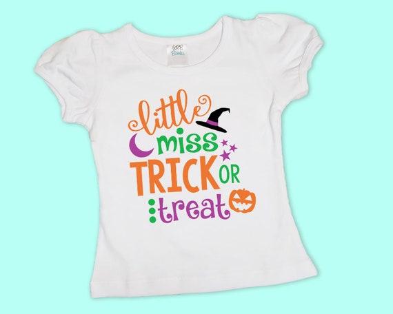 Little Miss Trick Or Treat t shirt, Girls Halloween Shirt or Onesie