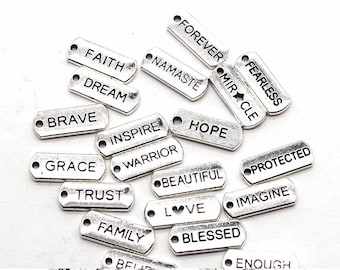 d8290757b9 50 pc Bulk Charms Word Charms